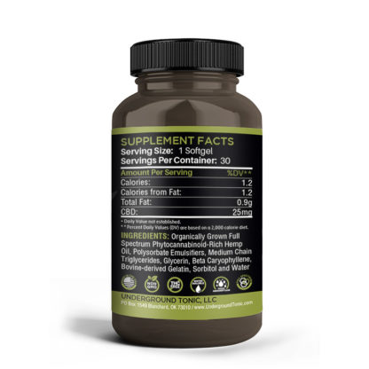 CBD Softgels Supplemental Facts